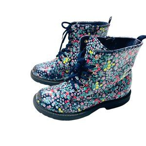 Glossy Floral Print High Top Boots